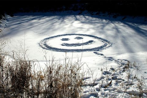 snowy smiley face on pond